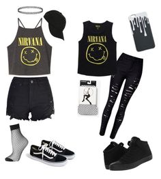 """Nirvana"" by kute-clothes on Polyvore featuring Topshop, J.Crew, Hot Topic, WithChic, Express, Converse, music, black, emo and nirvana"