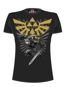 Camiseta Legend of Zelda. Triforce con Link