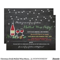 Christmas Drink Mulled Wine Merry Ice Party Invite