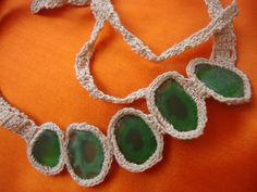 Hand crocheted sea glass necklace