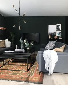 Best Living Room Ideas With Black Walls 24 Small Living Rooms, Home And Living, Living Room Designs, Living Room Furniture, Living Room Decor, Furniture Nyc, Living Room Accessories, Black Walls, Black Decor
