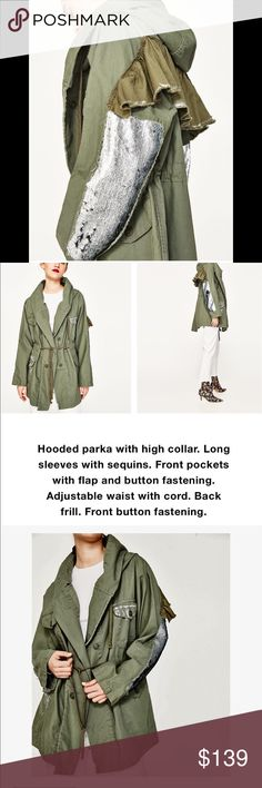 Sold out * ZARA sequined Army Camouflage Jacket S Hot!! New with Tags Zara sequined sleeve detail hooded camp parka ! Very adjustable due to roomy tailoring ..will fit as xs- medium easy Zara Jackets & Coats Utility Jackets