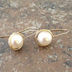 14K Gold Filled Wrapped Swarovski  Pearl Earrings