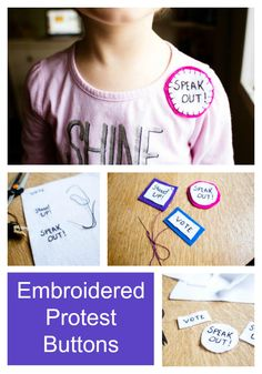 Easy and inexpensive to make, even if you're not a sewing pro. Pinned to your jacket or your bag, these little patches will tell the world what you stand up for! Sparkle Stories, Sparkle Crafts, Crafts For Kids, Patches, Take That, Buttons, Jacket, Sewing, Bag