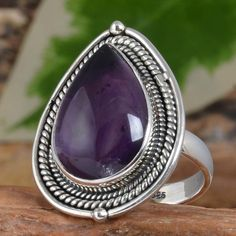 EXCLUSIVE 925 STERLING SILVER Amethyst FANCY RING 7.81g DJR10287 SZ-7 #Handmade…