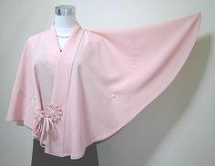 silk kimono poncho  three quarter sleeves  pale by KimonoPonchoCom, $160.00