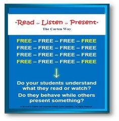 Read or Listen or Present for FREEDear TeachersDo you like to see if your students understand what they are reading and/or watch?Do you also like your students to focus and pay attention when their classmates are presenting a project to the class?Yes, me too I do and this is the reason I created this free document that is divided in 3 categories: Reading, Listening, and Presentation.This Free Read or Listen or Present, the Carten Way is a sample of the full version, and it let's you print…