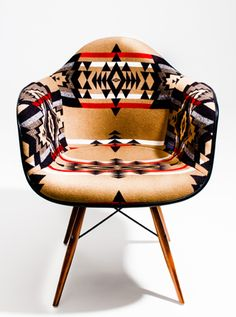 Herman Miller : Eames Arm Shell Chair with Pendleton Fabric