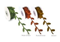 Leaf ribbon garland with leaves in moss green with by pandorashack