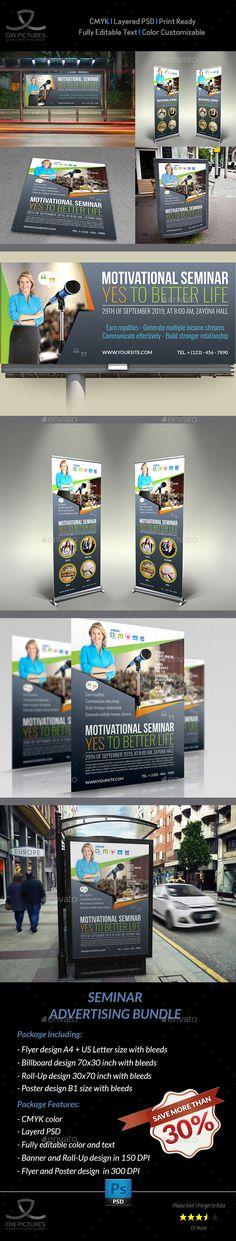 Seminar Advertising Bundle - Roll-Up, Billboard, Flyer, Poster Templates PSD