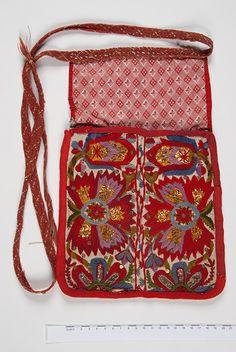 Estonian cultural legasy; handcrafted traditional 'pocket' (bag). Estonian museum