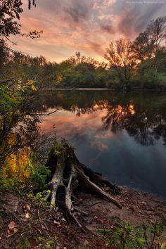 The fall on the island of Khortytsia in Zaporozhye city, Ukraine