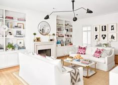 New Ideas for living room ideas white walls bookshelves Living Room Table Sets, Living Room Decor Furniture, Living Room Furniture Arrangement, Living Room White, Living Room Windows, Paint Colors For Living Room, Small Living Rooms, Living Room Interior, Rugs In Living Room