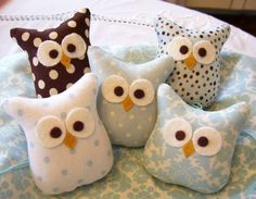 OwlsFive Little Blue and Brown Stuffed Owl by rosecottageboutique2, $25.00