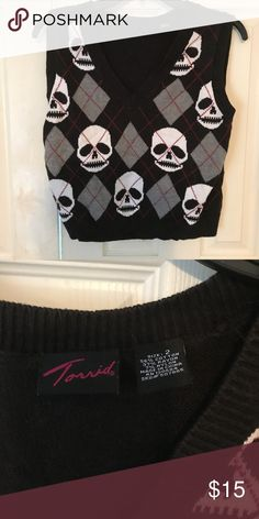 00df4244301a6 See more. Torrid Cropped Skull 💀 Vest Good used condition crop vest torrid  Sweaters V-Necks Skull