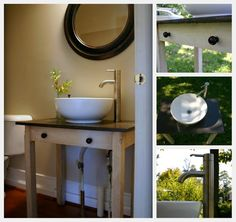 Turn an antique table into a bathroom vanity.  Would also work well with a dresser and this blog makes it look easy.
