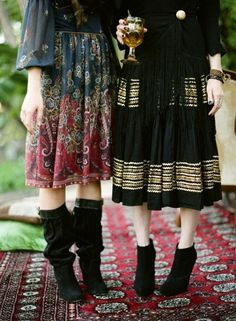 Paisley dress with black slouchy boots. Black and gold dress with black booties.