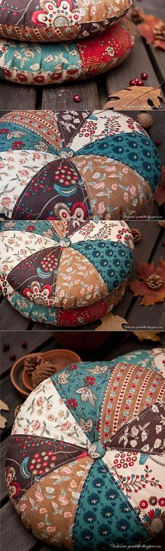 Boho home decor patchwork / Round pillows Sewing Pillows, Diy Pillows, Decorative Pillows, Floor Pillows, Quilting Projects, Sewing Projects, Fabric Crafts, Sewing Crafts, Patchwork Quilt