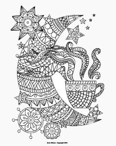Zentangle Tea Cups Color Page 3 By Artist Anna Wilson