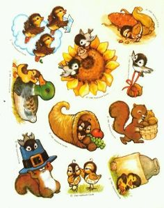Set of 7 Stickers Vintage Inspired Autumn Harvest Sticker Set