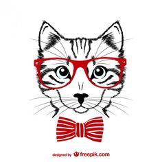 Ilustración de gato hipster Vector Gratis