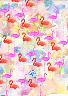 Red hot Flamingo  Art Print