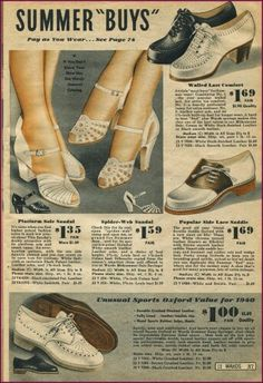 Ugh, I need to spend a day scanning new images :) Montgomery Wards 1940 Retro Heels, Saddle Shoes, Montgomery Ward, 40s Fashion, 1940s Dresses, Sandals For Sale, Novelty Print, Vintage Shoes, Refashion