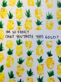 Original Fancy Pineapple Watercolor Painting with Iggy Azalea Lyrics