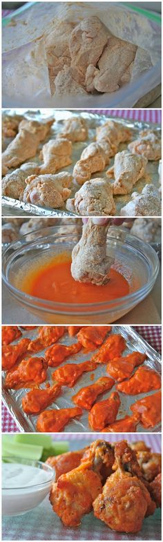 Baked Chicken Wings.. Ingredients:20 chicken wings1/2 teaspoon salt1/2 teaspoon pepper3/4 cup plus 1 tablespoon hot sauce, divided1 tablespoon vegetable oil3/4 cup Gold Medal® all-purpose flour1/2 teaspoon cayenne pepper1/2 teaspoon garlic powder1/2 cup (1 stick) melted butter Bake for about 30 minutes. Turn the wings over and bake for about 30 more minutes.