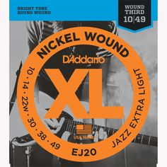 D'Addario EJ20 Nickel Wound Electric Guitar Strings, Jazz Extra-Light, 10-49
