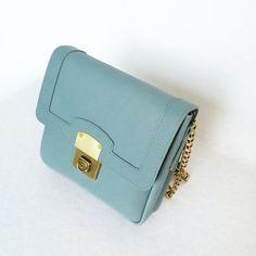 Sac en cuir bleu clair bleu sac a main sac en cuir par LaLisette