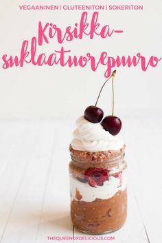 Kirsikka-suklaatuorepuuro | Vegaaninen aamiainen | Guteeniton tuorepuuro | Helppoa aamupala | Terveellinen resepti #kirsikka #gluteeniton #terveellinen #tuorepuuro