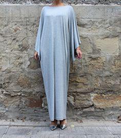 Grey Maxi Dress Caftan Abaya Plus size dress Plus size