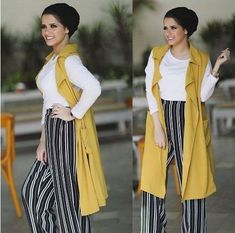 striped palazzo pants-Hijab fashion ideas for Easter – Just Trendy Girls
