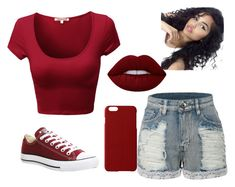 """""""Summer oufit"""" by nealamyah ❤ liked on Polyvore featuring LE3NO, Converse, Lime Crime and Maison Takuya"""