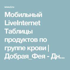 Мобильный LiveInternet Таблицы продуктов по группе крови | Добрая_Фея - Дневник Лебедевой Ирины |