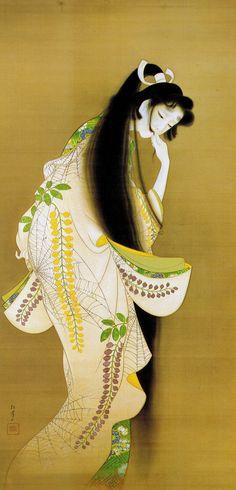 Uemura Shoen (by mando maniac)上村松園 Geisha Art, Art Asiatique, Art Japonais, Japanese Painting, Japanese Prints, Japanese Culture, Japanese Lady, Japan Art, Chinese Art