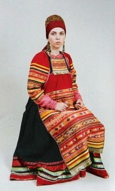 Casual costume of a married woman from Vereysk Region, Moscow Province, Russia…