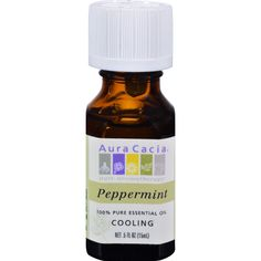 Aura Cacia Pure Essential Oil Peppermint - 0.5 fl oz - Aura Cacia Pure Essential Oil Peppermint Description:  100% Pure Essential Oil - Cooling Instantly recognizable peppermint oil has a very potent minty aroma that produces a cooling and refreshing sensation. Combine peppermint lavender and a skin care oil for a soothing stomach-massage oil.   Product Notes:  Color: Pale yellow to pale olive-green Viscosity: Mobile Top Note: Very fresh grassy and buttery Middle Note: Strong grassy-minty…