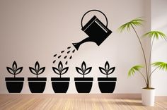 Vinilos decorativos - Vinilo Decorativo Regadera y Macetas - hecho a mano por VinilosDecorativos en DaWanda #DaWanda #hechoamano #diseño #handmade #DIY #plantas #macetas #jardinería #flores #huerto