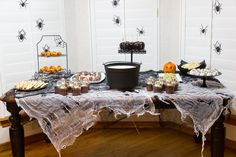 Halloween Food Table Halloween Party | www.manionamor.com | Fourth Annual Halloween Party!