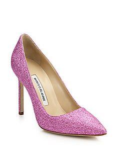 Manolo Blahnik BB 105 Pink Glitter Pumps - Saks Fifth Avenue