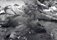 Dachau, Germany, Dead bodies of the German camp guards who were killed by the prisoners, after the liberation,1945