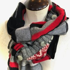 Upcycled from Wool Sweaters, Gender Neutral Scarf