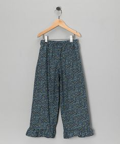 Take a look at this Navy Speckle Ruffle Pants - Infant, Toddler & Girls by Sew Childish on #zulily today!