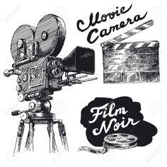 Movie Camera-original Hand Drawn Collection Royalty Free Cliparts ...