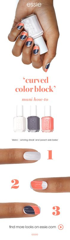 this simple color block nail art is perfect for any mani year-round! take your nail game to the next level with this gorgeous nail art using nail polish shades of peach and plum with hints of crisp white color peeking through