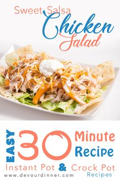 We LOVE Sweet Salsa Chicken on Salads, Burritos, Nachos and any other way we come up with. It's the perfect combination of sweet and tangy in this easy chicken dinner recipe. Make an entire meal in about 30 minutes. Crowd pleaser and family favorite.  Kid approved.  #Easyrecipe #recipe #recipes #Food #foodie #Yum #foodblogger #Mexicanfood #mexicanrecipe #salad #summersalad #Instantpot #Videotutorial #videorecipe #instapot