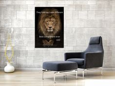 """1 Piece Lion Compliment Canvas - One Piece Lion """"You are Different"""" Artwork For Home/Office Decor Artwork For Home, Home Office Decor, Home Decor, 1 Piece, Compliments, Zen, Meditation, Thoughts, Chair"""