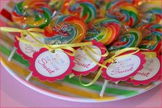 "Themed favor tags that read ""thank you for being sweet"""